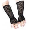 Elbow Length Fingerless Lace Gloves Black